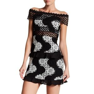 R&J Couture off the shoulder crochet dress